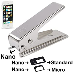 Découpeuse de cartes Sim ou micro sim vers Nano sim pour iPhone 5 + 2 adaptateurs Nano-sim vers micro-sim et Nano-sim vers SIM