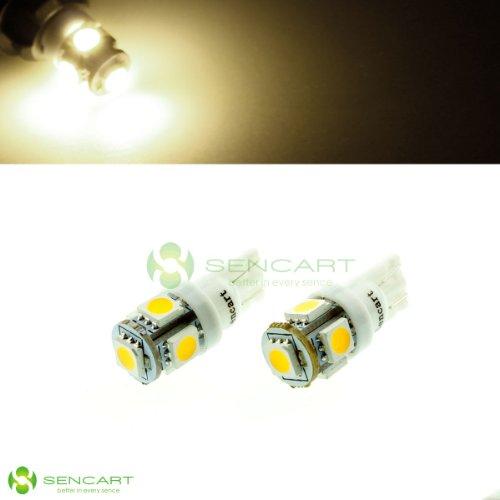 2X T10 5-5050 Smd Led Warm White 3000K Lights Dc 12V Car Interior,Door, License Plate,Trunk Light Bulb Lamps