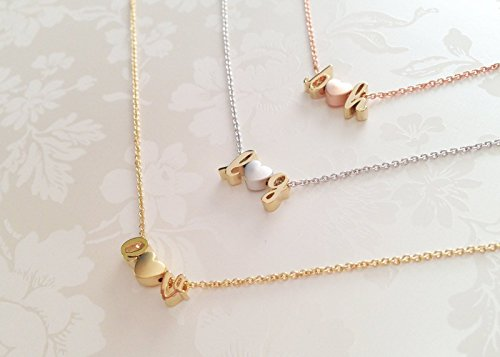 A Delicate Initials Heart Necklace in Gold Silver Rose Gold Personalized gift for Women Three Charms