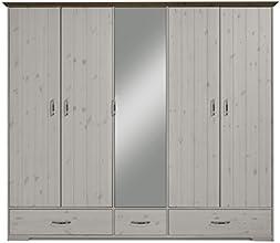 Steens 3651150269000F Hanstholm Kleiderschrank, 238 x 206 x 61 cm, Kiefer Massiv, weiß / stone