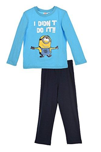 Minions Schlafanzug Kollektion 2016 Pyjama 92 98 104 110 116 122 128 Jungen Neu Herbst Winter Lang Nachtwäsche Blau (110 - 116, Blau)