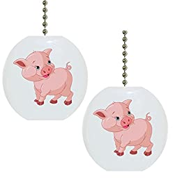 Set of 2 Baby Pig Farm Animal Solid Ceramic Fan Pulls