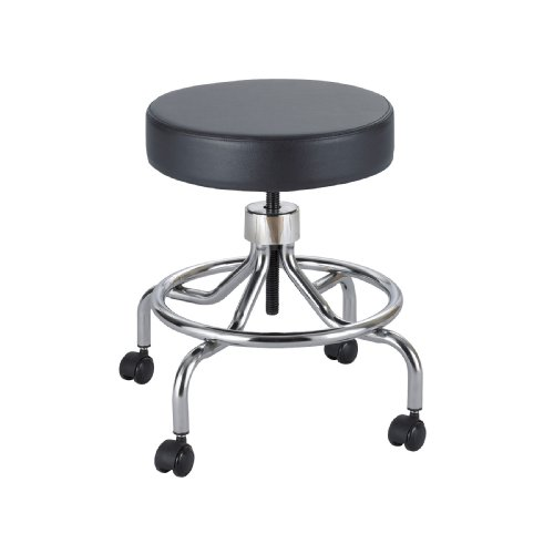 Safco Products Lab Stool, Low Base With Screw Lift, Black, 3432Bl front-681693