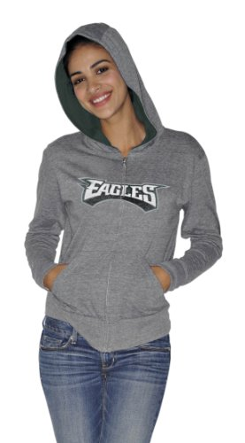 NFL Women's Philadelphia Eagles Tried and True Hoody (Heather Grey, Large)