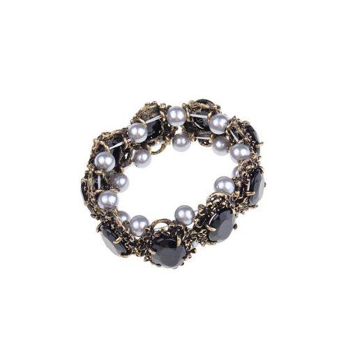 BestDealUSA Fashion Black Vines Vintage Retro Gray Pearl Crystal Bracelet