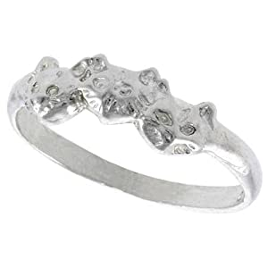 Sterling Silver Diamond Cut Cat Ring, size 8