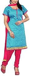 Fabiola Trendz Women's Cotton Silk Unstitched Dress Material (Aqua Blue)