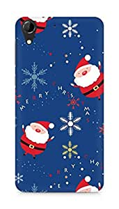 Amez designer printed 3d premium high quality back case cover for HTC Desire 728 (Santa claus set lettering snowflake)