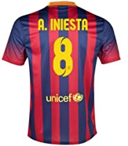 New Soccer Jersey 2013-14 Barcelona Home A.iniesta No.8 with LFP Patch Football Shirt Size M