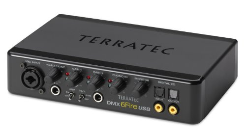 TerraTec SoundSystem DMX 6Fire External USB Sound Card 24 Bit 192 KHz with 4 RCA In-/6 RCA Outputs Phono Preamp Headphone Connection