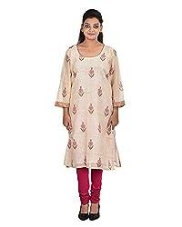 Damyantii Women's Plus Size Straight Off-White Large Kurta