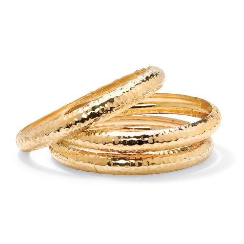 14k Yellow Gold-Plated 3-Piece Set Hammered-Style Bangle Bracelets 8 1/2