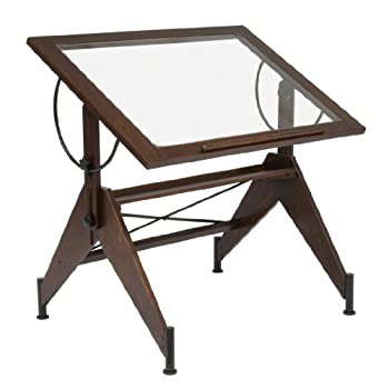STUDIO DESIGNS Aries Glass Top Drafting Table Sonoma Dark Walnut Brown/Clear Glass 13310