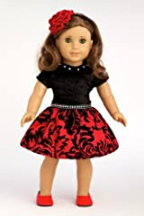 Holiday Spirit - Holiday red taffeta party dress with red shoes - American Girl Doll Clothes