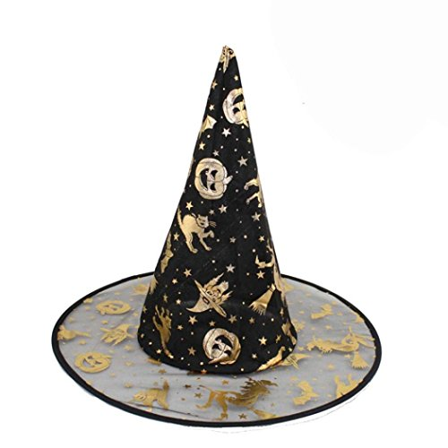 Tenworld 1PC Adult Womens Black Witch Hat For Halloween Costume Accessory