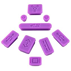 eForCity 9-pieces Anti-dust Silicone Plug Cup compatible with Apple® MacBook® Pro, Purple