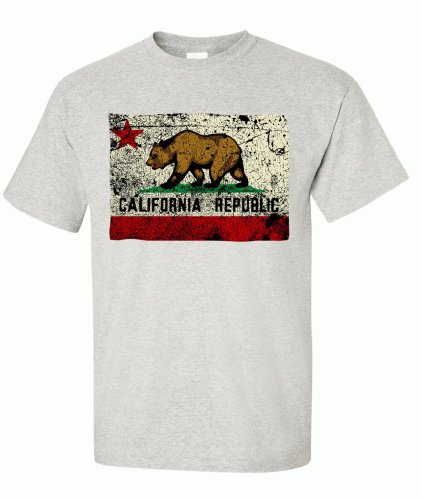 California State Flag Distressed T-Shirt/Tee By Dsc - Ash X-Large front-438842