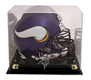 Minnesota Vikings Golden Classic Helmet Display Case with Mirror Back by Mounted Memories