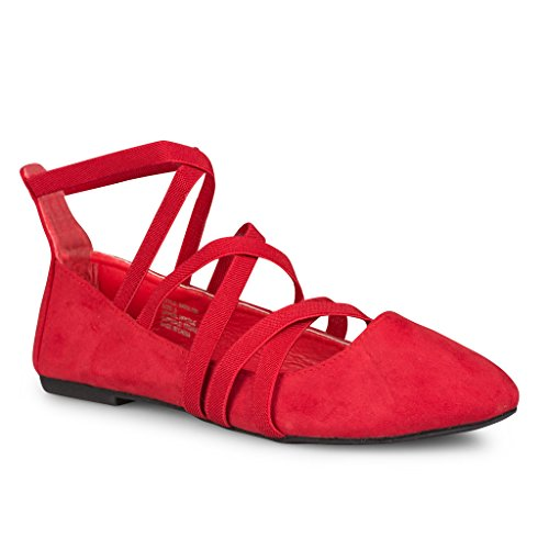 Twisted Womens Faux Suede Strappy Fashion Flats - RED, Size 7 (Red Ballet Flats For Women compare prices)