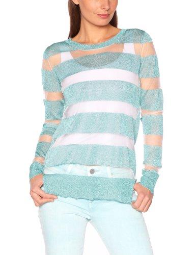 American Retro - Maglia, colletto tondo, manica lunga, donna, Turquoise (Turquoise), 2 - FR
