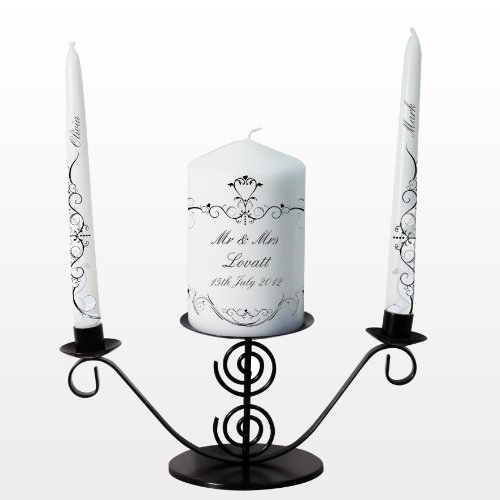 Ornate Swirl Unity Candle. This is a great product that can be personalised to your requirements ( please see main discription for full details ) Ideal gifts and presents for weddings, Christenings, Birthdays, Christmas etc...