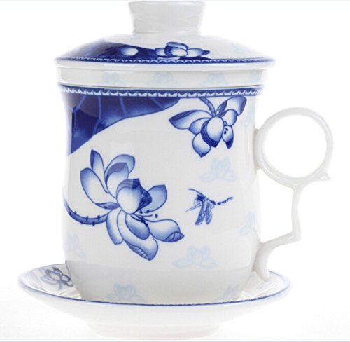 Moyishi Chinese Teaware White Porcelain Bone Tea Cups Tea Mug (With Lid) Blue Dragonfly With Lotus