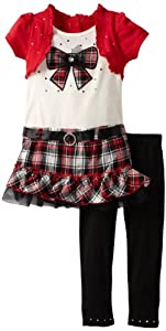 Young Hearts 2 Piece Bow Plaid Legging Set