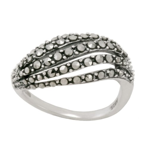 Sterling Silver Marcasite Open Work Wave Band Ring, Size 5