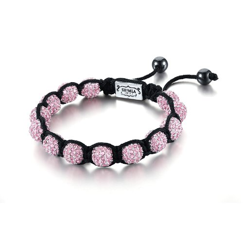 Shimla Crystal Bead Bracelet - Small Silver Plated Rose Cubic Zirconia Crystal Beads with Hematite Beads of 5.5-10.5cm
