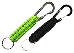 The Friendly Swede Paracord Keychains with Carabiners 2 Pack Black + Fluro Green