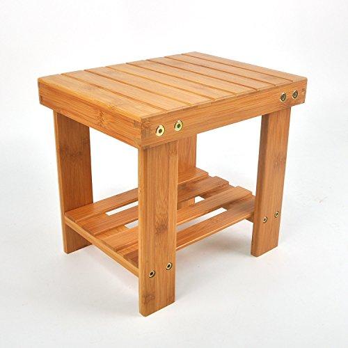 SafeHouseware Multipurpose Kids Bamboo Stool,Step Stool with Storage Shelf,Lightweight, 300 Pounds Bearing Capacity