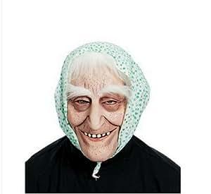 Adult Halloween Old Woman Wrinkly Grandma Granny Hooded Hag Fancy Dress Mask Wig [Green Flowered Scarf White hair]
