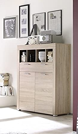 Dreams4Home Kommode Base Anrichte Sideboard Wohnzimmer, Highboard, Eiche sägerau hell