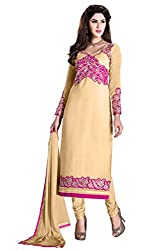 Manvaa Fascinating Beige Georgette Embroidered Dress Material-KFN06
