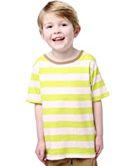 Pure Cotton Slub Striped T-Shirt