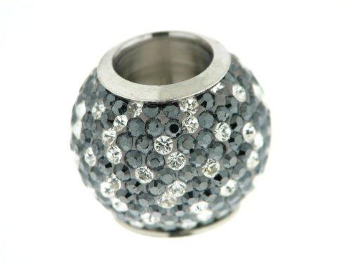 Kettenworld Unisex-Bead Magnetzwischenteil Kugel mit Strass 925 Sterling Silber schwarz und weiß FA 74393/92