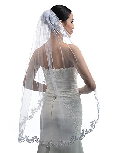 Topwedding Fingertip Length 1 Tier White Wedding Veil with Lace Hem and Comb