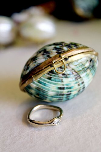 Seashell Emerald Green Jewelry Box Perfect for a Beach Wedding or Bridesmaid Gift By Hinterland Trading