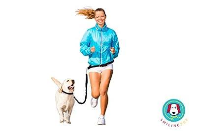 Smiling Pup Hands Free Dog Leash, Premium Running Dog Leash, Lightweight Reflective Bungee Dog Leash, Jogging Walking Waist Belt Dog Leash