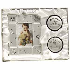 "First Curl/Tooth Frame Set for Baby/Pewter/2""x3"" Frame/Tooth Box/Hair Curl Box/Baby Shower/New Baby"