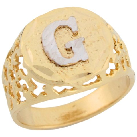 14ct Two Colour Gold Unique Filigree Letter G Stylish Mens Initial Ring
