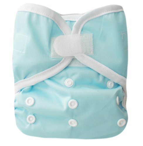 "Kawaii Baby One Size Velcro Cloth Diaper Cover for Prefolds "" Light Blue "" - 1"