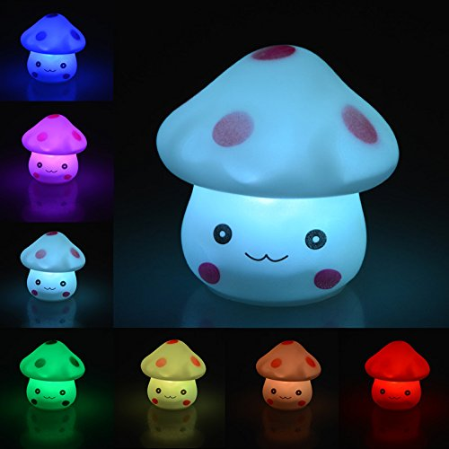 Youpin 7 Color Changing Mushroom Light,LED Novelty Lamp Night Romantic Plastic Cute Lamp For Room Christmas Party...