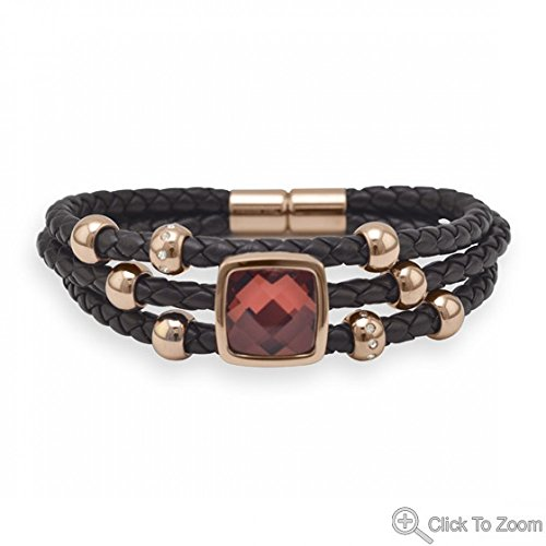 Triple Strand Brown Leather Bracelet With Faceted Red Glass
