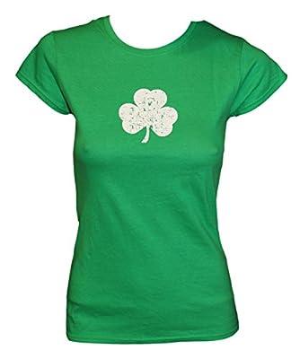 SCREEN PRINTED Ladies Shamrock T-Shirt St Patrick's Day Womens Tee Irish Green Distressed