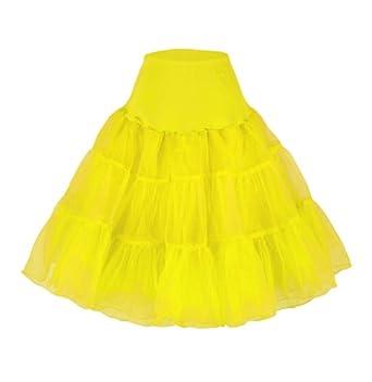 """Flora 50s Vintage Rockabilly Petticoat Skirt, 25"""" Length Net Underskirt (EU 32-40 (XS-M), gelb)"""