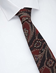Collezione Made in Italy Silk Rich Paisley Tie with Wool
