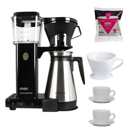 Technivorm 9586 Moccamaster Coffee Brewer/Thermo Carafe (Black) + Porcelain Coffee Filter Cone Size 4 + White Paper Filter for 02 Dripper + 2 Update International 13 Oz White Tiara Cappuccino Cups