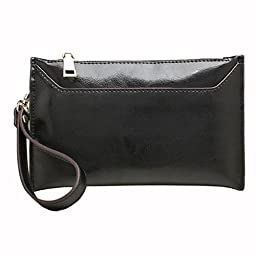 E-Clover Leather Wristlet Wallet for Ladies Fashion Clutch Purses (Black)