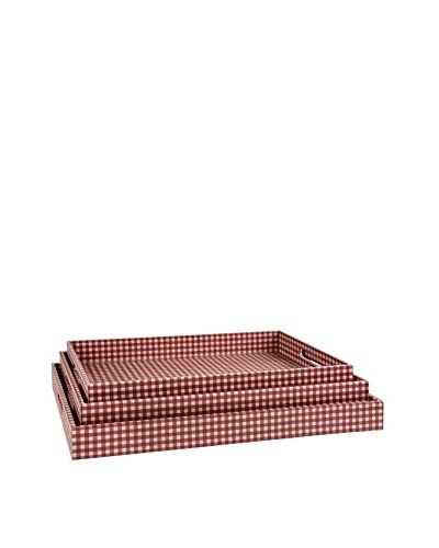 Home Essentials Set of 3 Red Gingham Trays